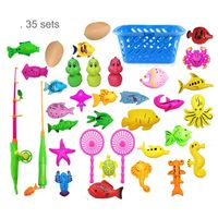 Hot beach toy 35pcs set fish with basket kids Magnet fishing toys