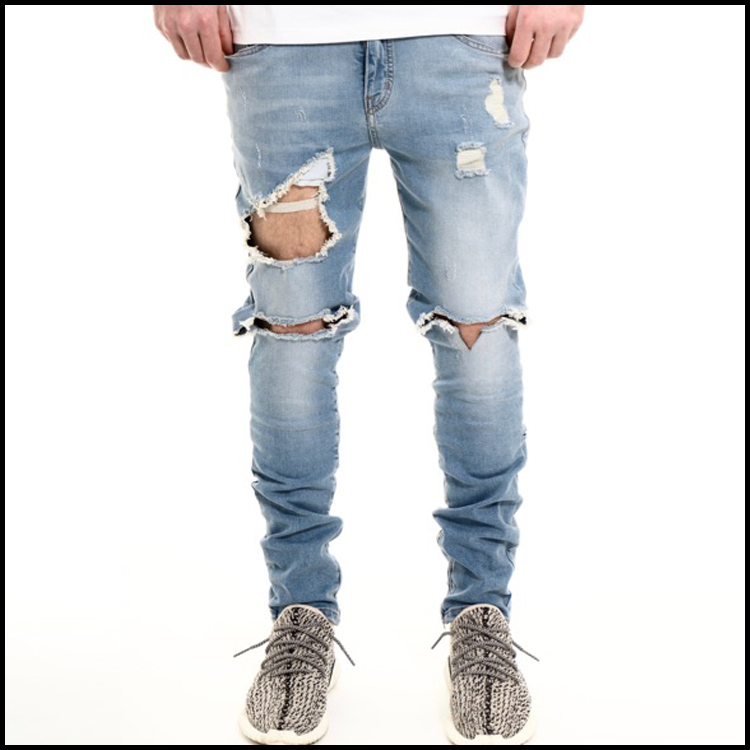 18d6b921bc0 Custom Washed Blue Men Ripped Skinny Jeans Denim Jeans - Buy Jeans ...