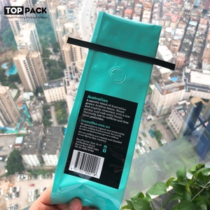 aluminum packaging plastic bag for coffee bean with tin tie