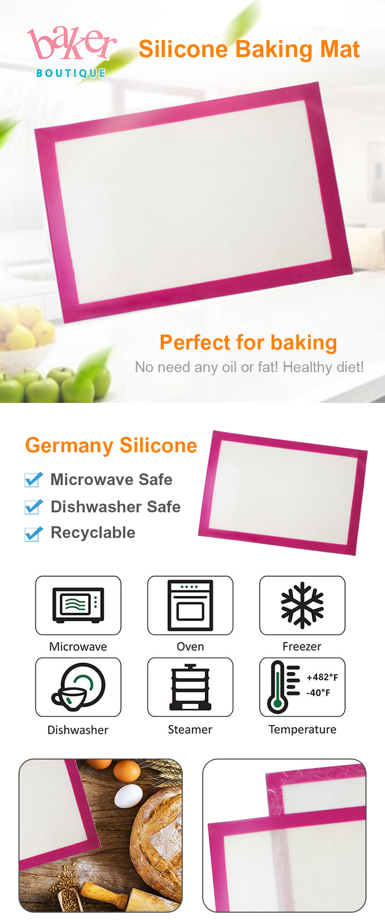 Kitchenware Silicone Target Baking Mat Temperature Preparation Mat