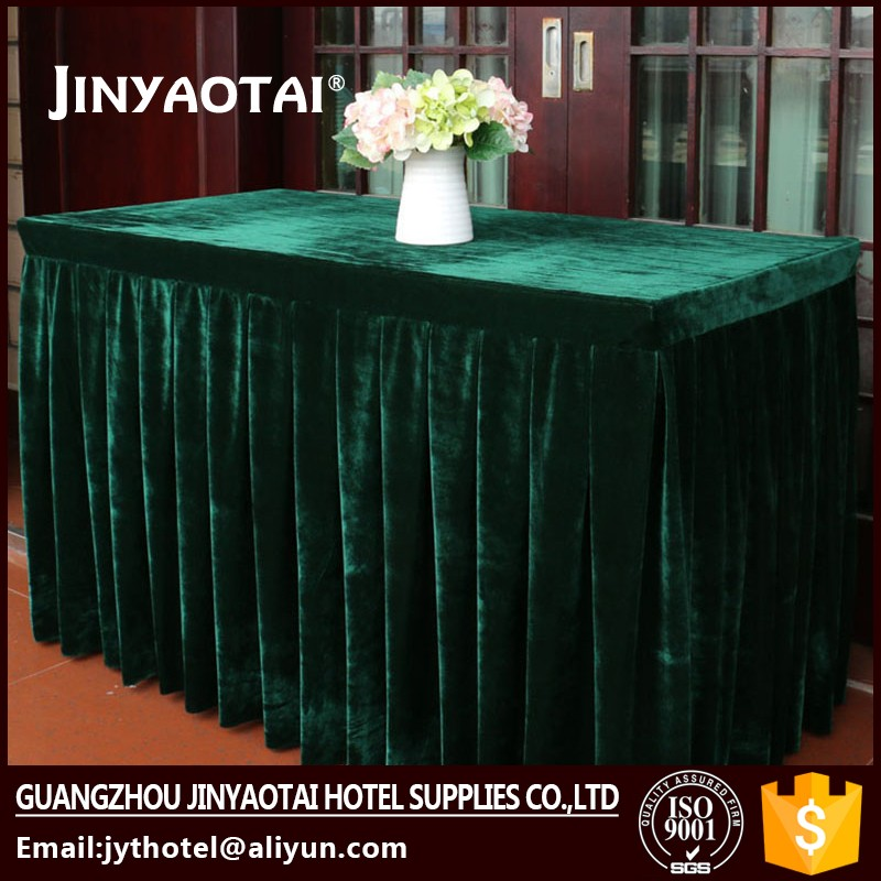 Guangzhou new style banquet pleat curly willow table skirt