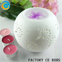 China Round Ceramic Candle Burner / Tart Oil Warmer Pure White Aroma Diffuser/Payment protection candle holder