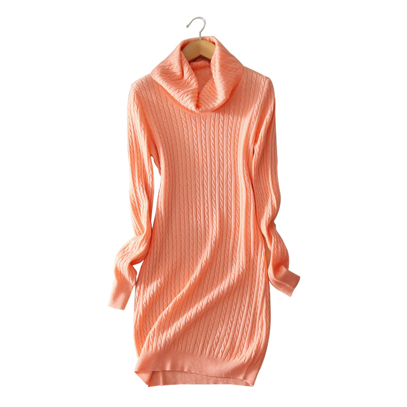 5 colors Women s dress 100 cashmere knitted knee length dresses turn down collar warm font