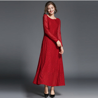 ladies long sleeve 2018 autumn winter woman long ankle length red wedding lace formal dress