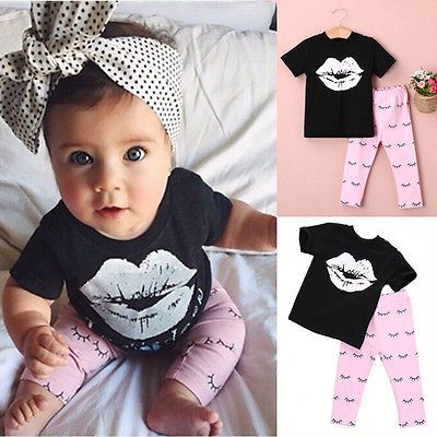 2016 Newborn Infant Kids Baby Girls T-shirt +Pants Outfits Clothes Set Summer Toddler Chidren Clothing
