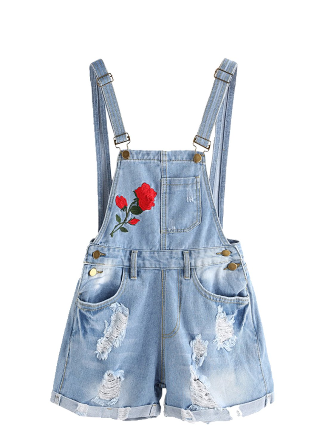 74b7c97c7cff Get Quotations · MakeMeChic Women s Ripped Distressed Denim Overall Shorts  Romper