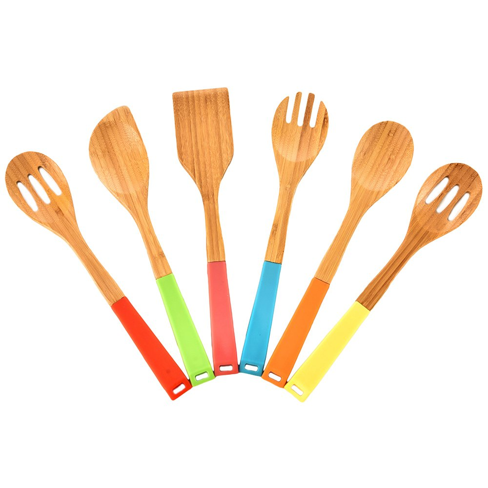 6-piece Colorful Silicone Handle Bamboo Spoons Non-stick Kitchen Cooking Utensil Set,Wooden Utensils for Kitchen with Silicone Handles in Red Yellow Green Orange Blue,silicone spatula set