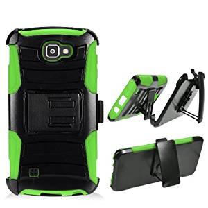 Phone Case for Verizon Wireless Prepaid LG Optimus Zone 3 4G LTE / Spree ( Cricket Wireless ) Neon Green Edge Cover Kickstand Combo Holster Belt Clip For Straight Talk LG Rebel 4G LTE