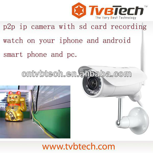 Wireless ip cam with support iphone android smart phones and pc