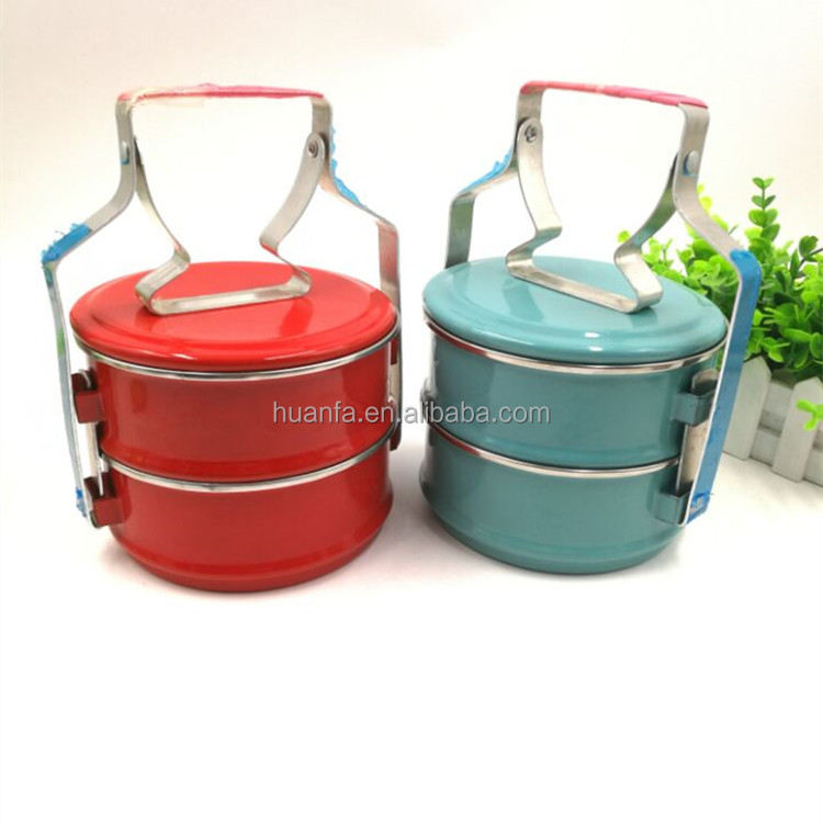 Tiffin Enamel 2/4Tier Lunch Box Bento Thai Food Collectable Lunch Box With Stainless Steel Rim For Gift