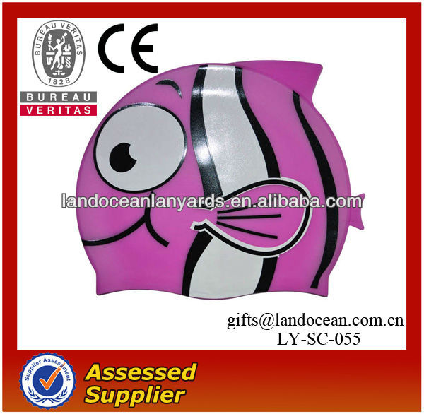 Silicone Cartoon Pink Printing Fish Cute Swimming Cap