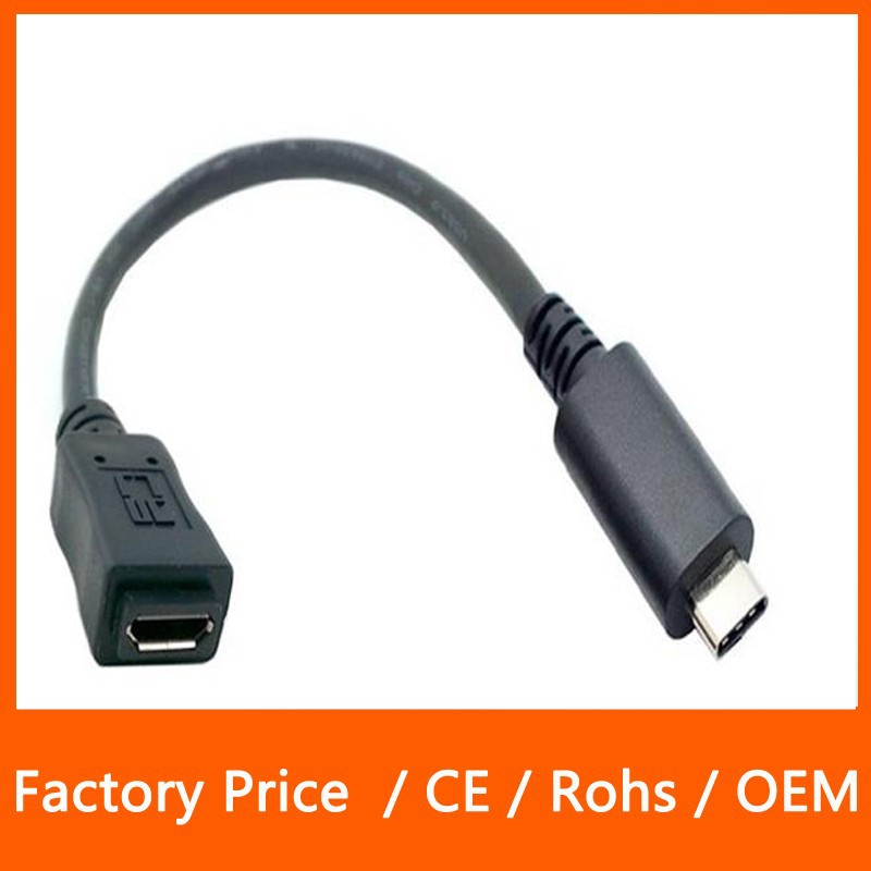 Reversible Design USB 3.1 Type C Data Cable USB to Micro USB Female 5Pin for Tablet Macbook