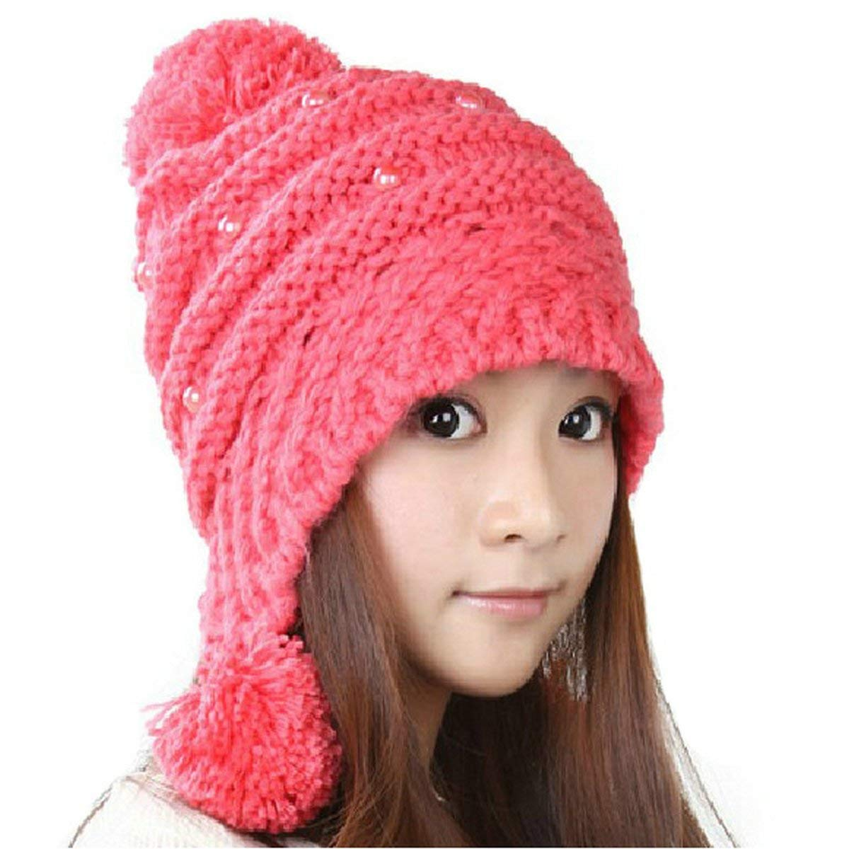 f5a5ff9edb3f1 Get Quotations · Joyci Christmas Girls Pearl Knit Pom Pom Hat Ear Flap  Beanie Ski Warm
