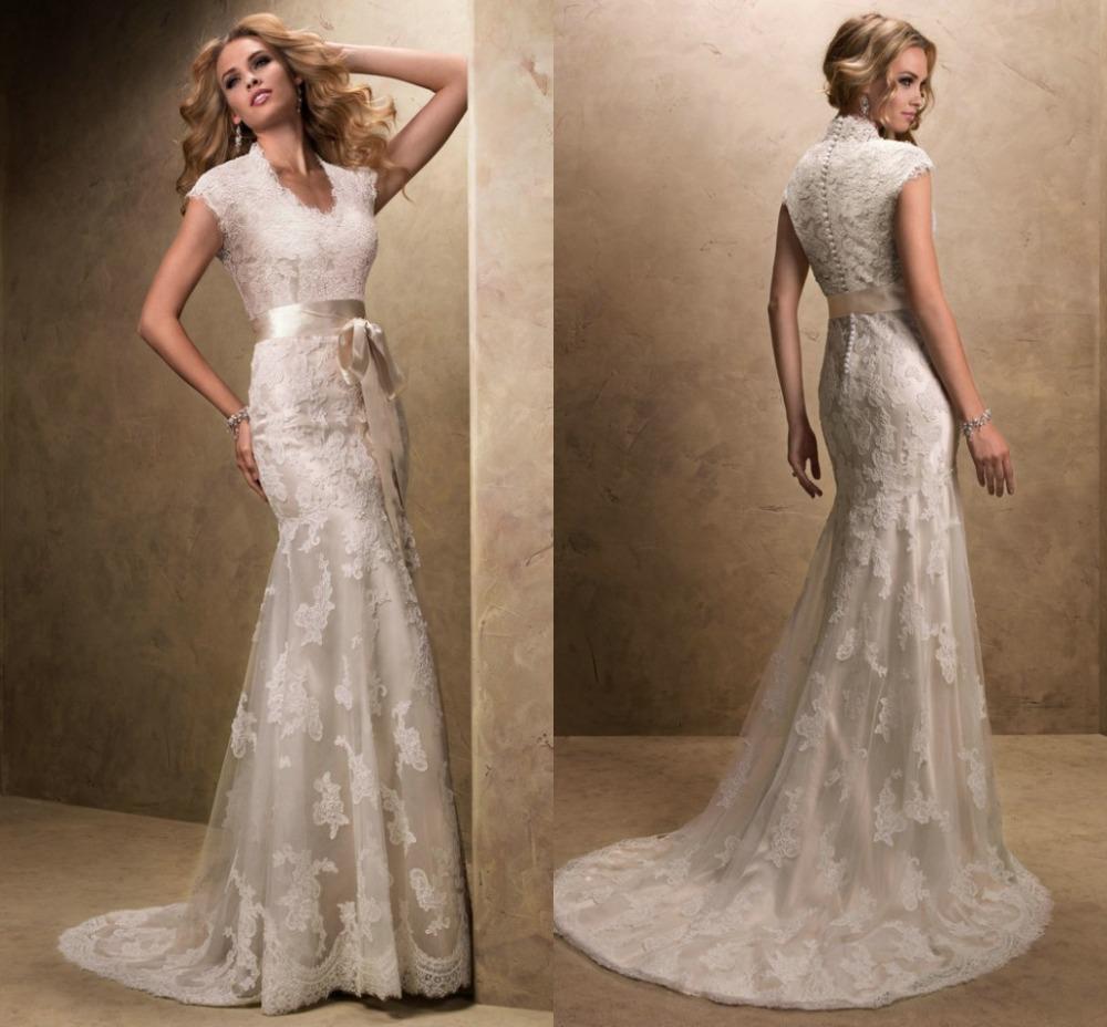 modest wedding dress with sleeves vintage v neck vestidos de novia tulle lace bridal gowns long. Black Bedroom Furniture Sets. Home Design Ideas
