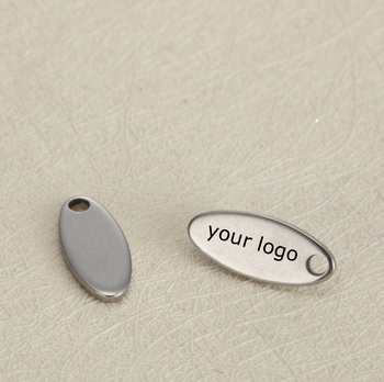 personalized logo engraved jewelry tag charm blank small custom oval