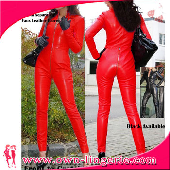 Wholesale race girls suit Wet Look zipper Front Sexy Bodysuits black and red faux leather catsuit
