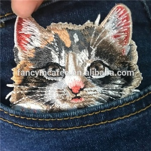 High Quality Garment Accessories Pocket Cat Iron On Embroidery Patch