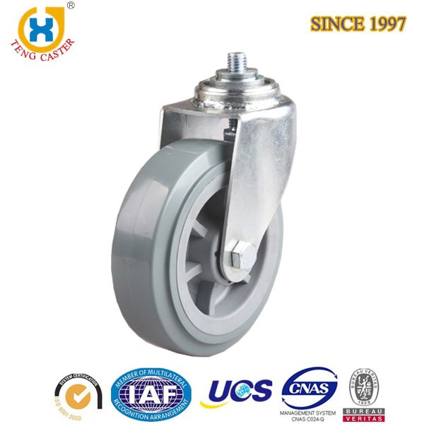 Universal 125mm PU Heavy Duty Ball Casters Wheel ,Repair Replacement,200 Load Capacity.