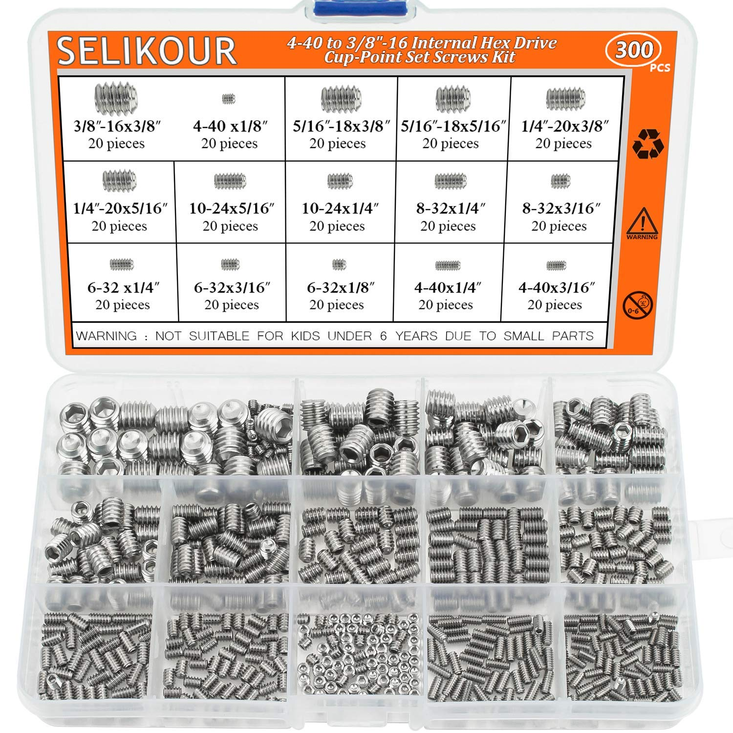 "SELIKOUR 4#-40 to 3/8""-16 Stainless Steel Internal Hex Drive Cup-Point Set Screws Assortment Kit"