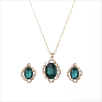 European hot selling crystal necklace earrings set wholesale cheap price fashion wedding jewelry