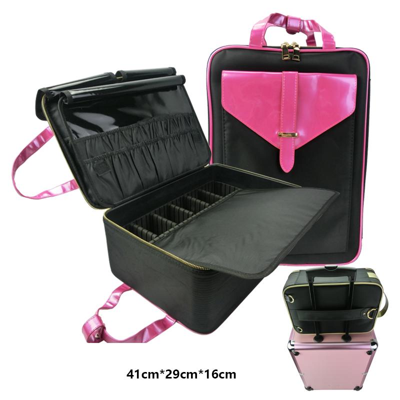 Travel Makeup Women Organizer Nylon Cosmetic Bag With Brush Holder Product On