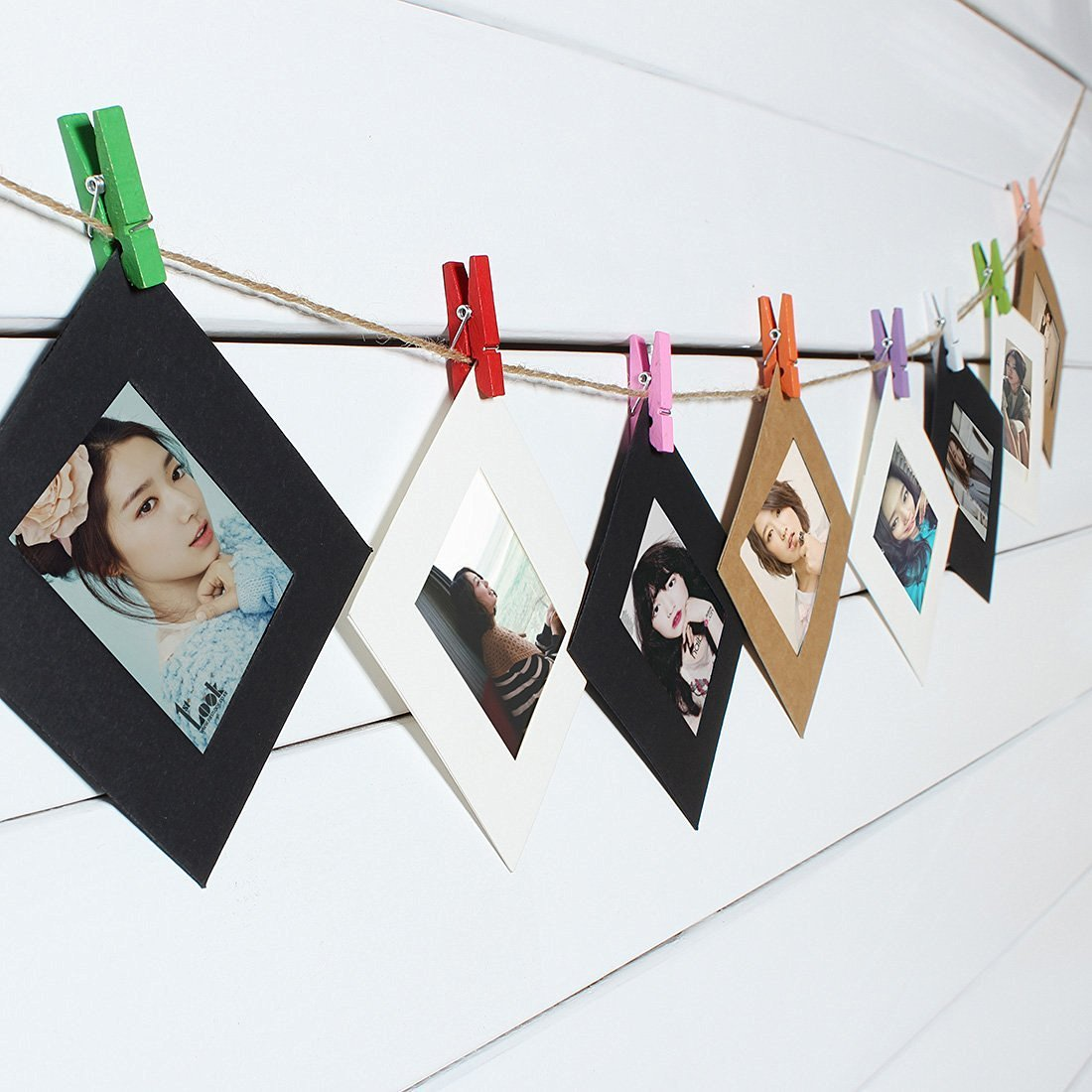 10 Pcs 3 Inch Photo Paper DIY Wall Picture Hanging Album Frame With Rope Clips Flim / . : 10 Pcs 3 Inch Photo Paper DIY Wall Picture Hanging Album . . Specification: . Material: Kraft Pap