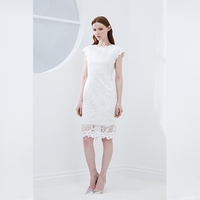 2019 New Summer French White Fancy Short Women Fashionable Sexy Lace Dress Long