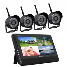 "4CH QUAD DVR Security System with 7"" TFT LCD Monitor Digital Wireless Cameras kit Baby Monitor"