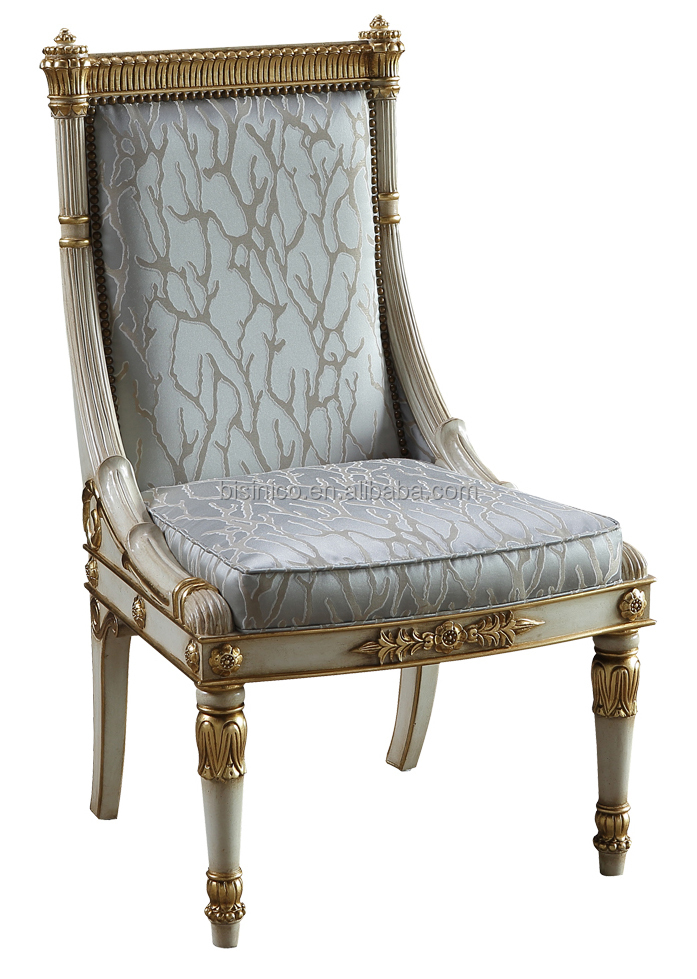 royal design luxury solid wood hand carved fabric dining chair