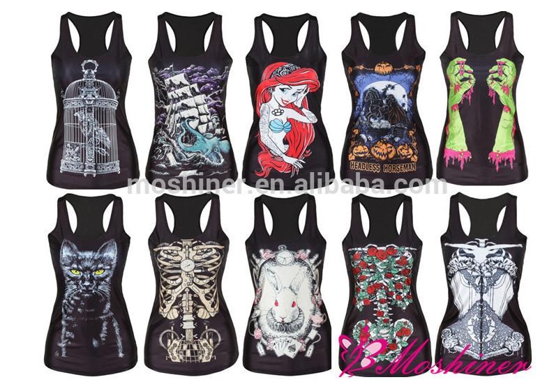 2015 Women Digital Printing Vest Plus Size Tops,Girls White Vest ...
