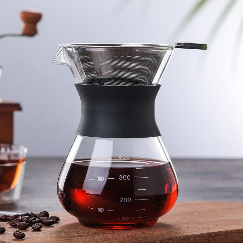 250 ミリリットル 400 ミリリットル耐熱ホウケイ酸ガラスコーヒーメーカーガラスコーヒーポット上に注ぐシリコンスリーブ