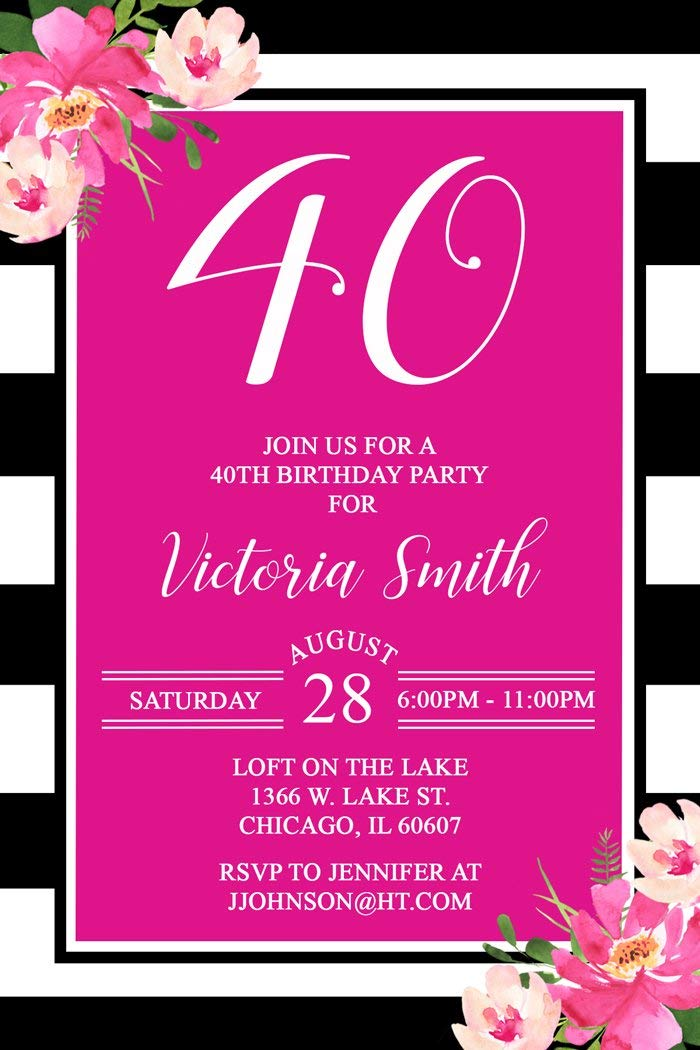 Get Quotations 40th Birthday Party Invitations Hot Pink Black Personalized Printed