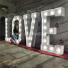 Galvanized iron sheet with powder coating 5ft LOVE led marquee bulbs letter for wedding/party decoration