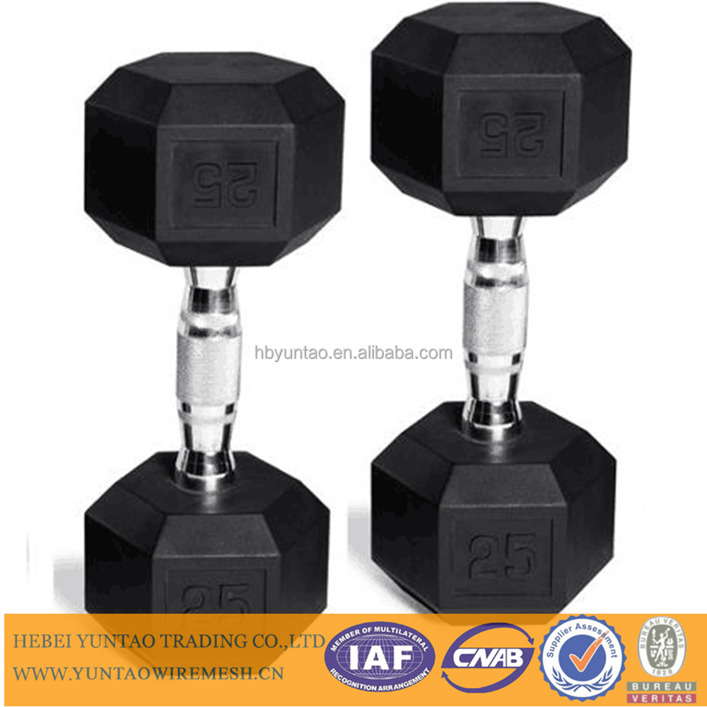 Black 5-25kg brand new rubber coated hex dumbbell for body building