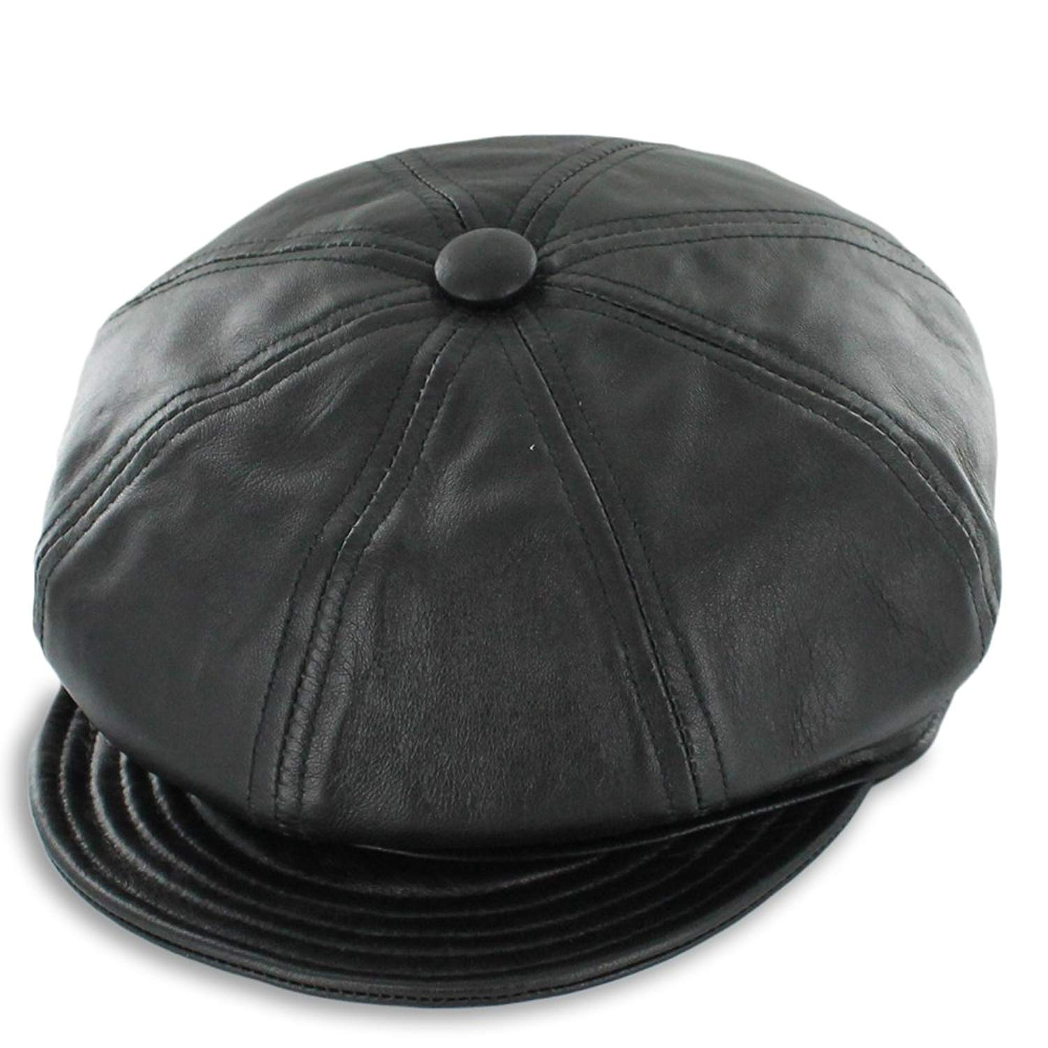 Get Quotations · Hats in the Belfry Belfry Gatsby - Genuine Leather Newsboy  Cap (Small a156012142f5