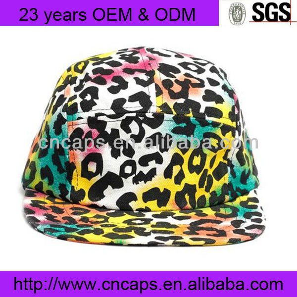 leopard print blank 5 panel cap custom five panel camper hat sport hats