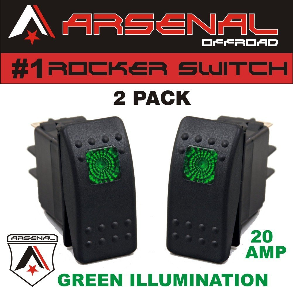 Buy Zombie Rocker Switch Kit By Arsenal Offroad Tm 40 Amp Relay Off Road Wiring Harness Kits 2 Pack 20 Green Light 4x4 Jeep Polaris Rzr Rapator Trucks Rv Utv Powersports