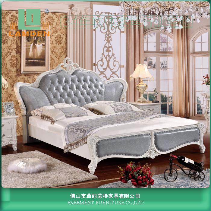G8817 muebles de dormitorio de lujo cama king size material de Cuero ...