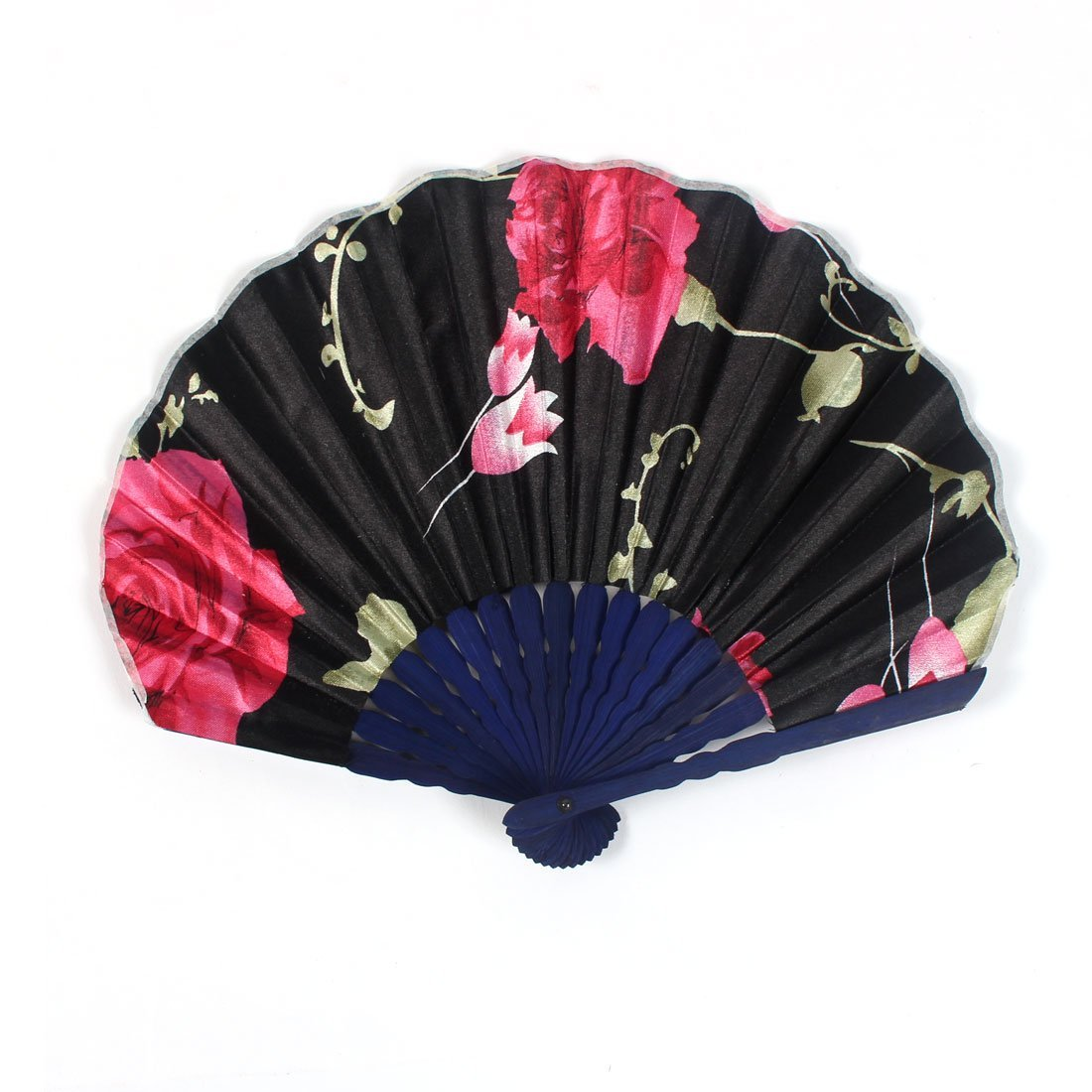 uxcell Rose Blossom Printed Ladies Summer Hand-held Folding Dancing Hand Fan Craft