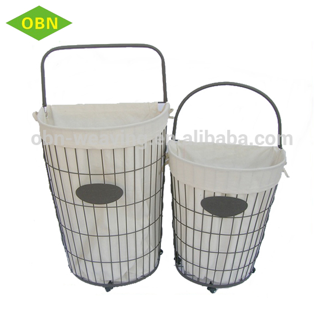Metal Wire Laundry Basket With Wheels