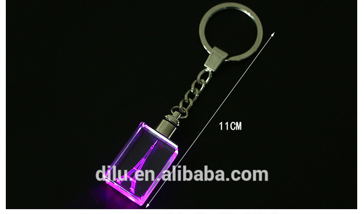 Personalized Custom 3D laser logo mini acrylic metal ring led light key chain led Crystal keychain for promotion business gifts