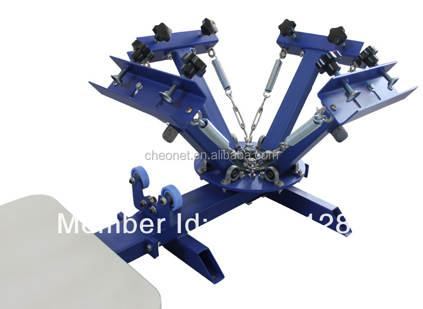 Free express shipping 4 color 1 station silk screen printing machine