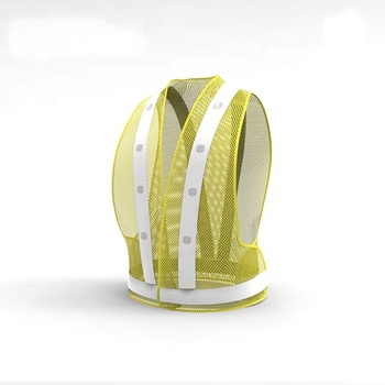 night yellow net pvc tape traffic road led reflective safety vest with led light