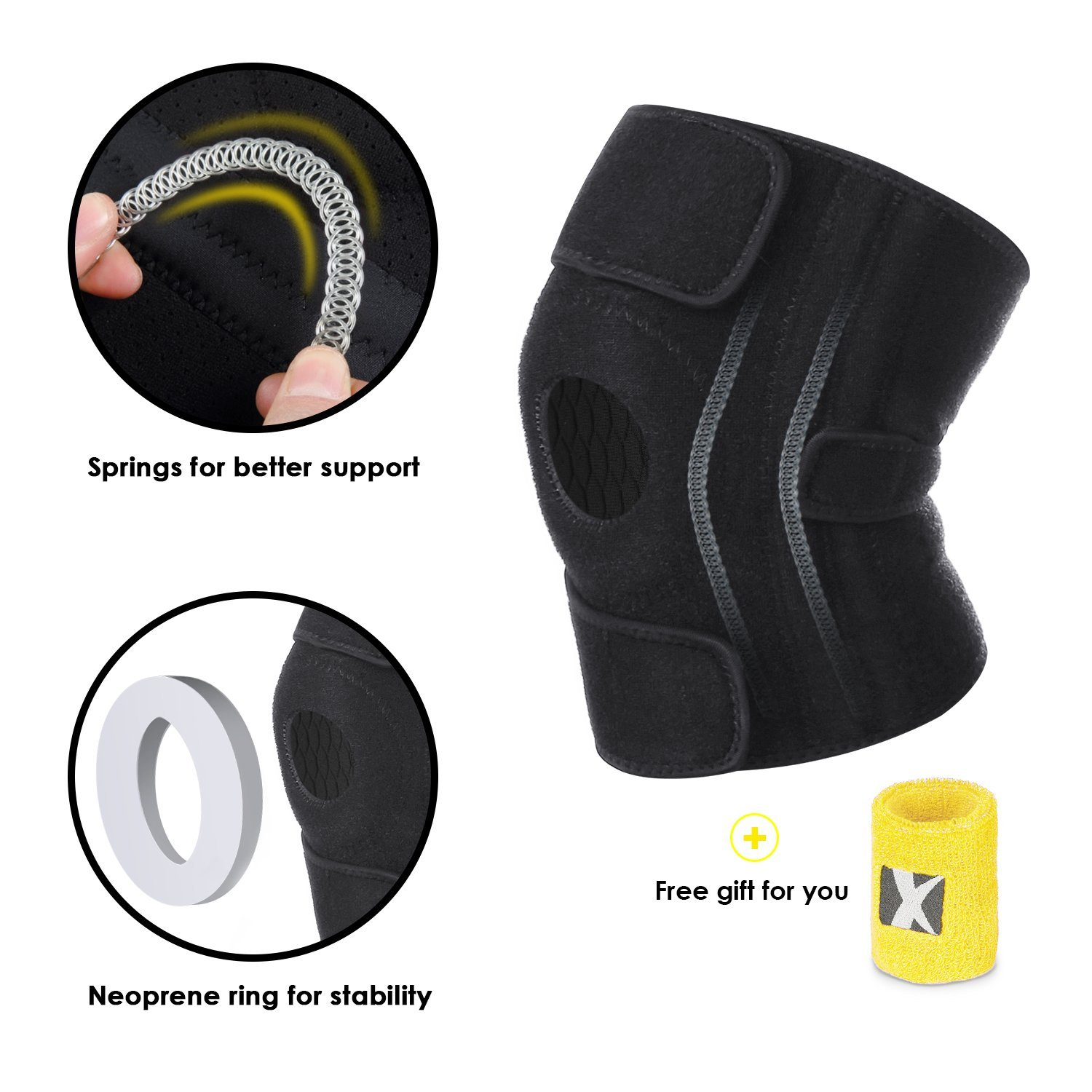 8a5db253ca Get Quotations · MARNUR Knee Brace with Kneecap Stabilizer and 4 Support  Springs for Leg, Open-Patella