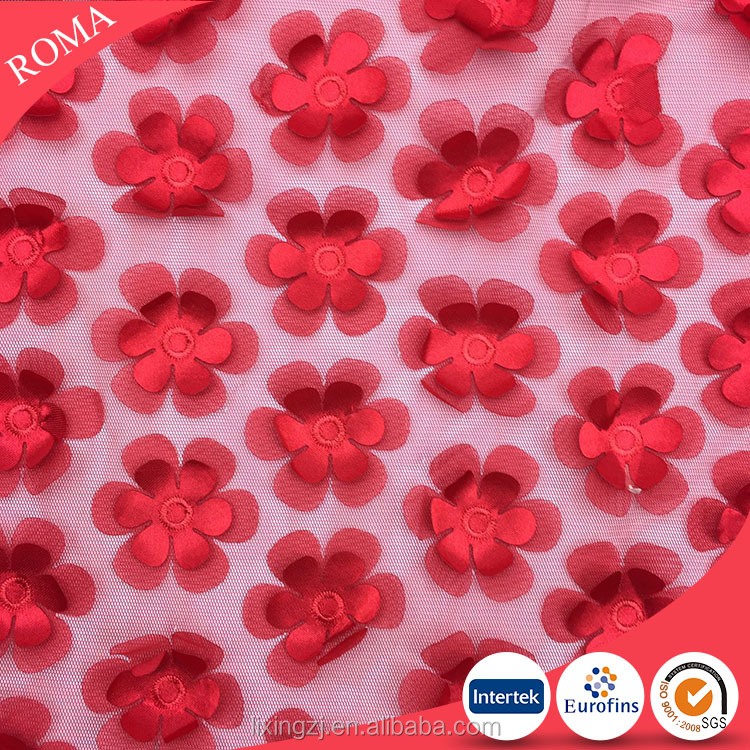 Red flower beaded Voile fabric, Bridal Veil Tulle Fabric