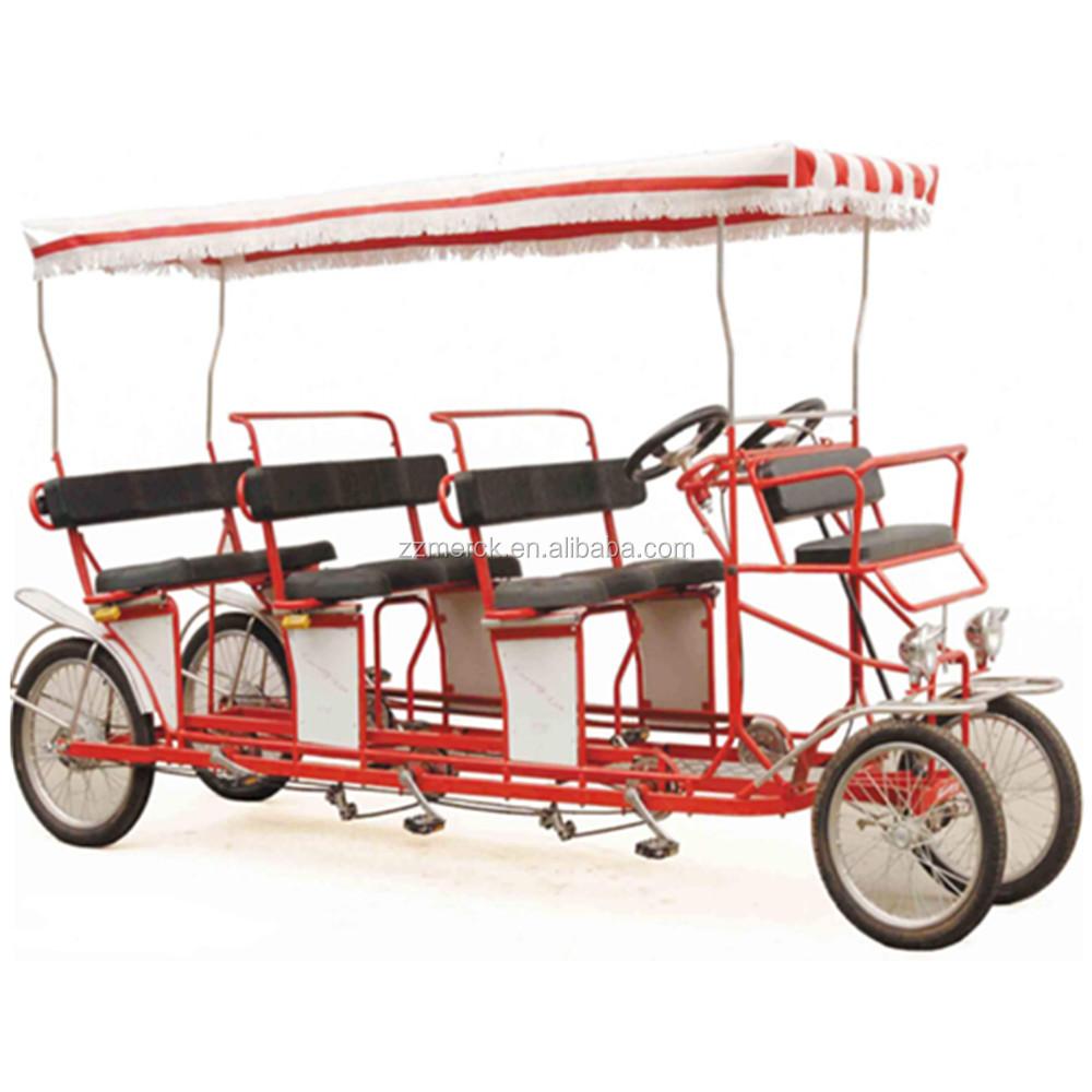 Gratis Tarif 4 Roda Roda untuk 4 Orang Dewasa Surrey Sepeda terbaik Sepeda Tandem 6 Orang Surrey Sepeda dengan Kursi Bayi