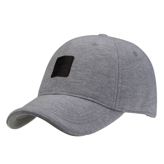 Professional OEM Manufacturer Custom Wholesale marl grey melange jersey fabric Baseball cap and <strong>hat</strong> With Leather badge