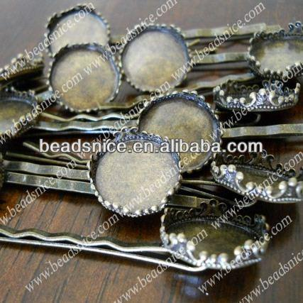 Beadsnice Filigree Hairpin Clips Brass Base inside diameter:20mm jewelry accessories