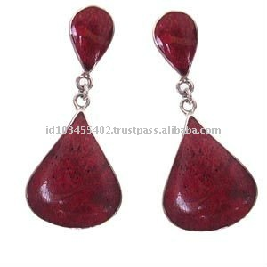 ES001- sterling silver coral earring in two large drop shape