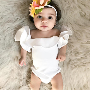 2018 cotton newborn soft cotton romper baby plain girl's white romper